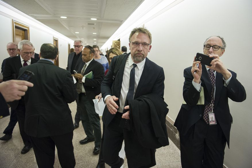 Backpage.com CEO Carl Ferrer leaves the Senate Homeland Security and Governmental Affairs subcommittee hearing on Capitol Hill in Washington, Tuesday, Jan. 10, 2017, after invoking his Fifth Amendment right against self-incrimination.  (AP Photo/Cliff Owen)