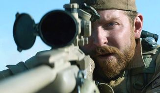 "Actor Bradley Cooper starred in 2014's ""American Sniper"" by director Clint Eastwood. It is loosely based on the 2012 memoir ""American Sniper: The Autobiography of the Most Lethal Sniper in U.S. Military History,"" by Chris Kyle, with Scott McEwen and Jim DeFelice. (Warner Bros. Pictures) ** FILE **"