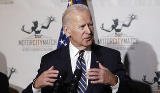 Vice President Joe Biden gestures while speaking at a ceremony honoring 15 Detroit entrepreneurs, Tuesday, Jan. 10, 2017, in Detroit. (AP Photo/Carlos Osorio)