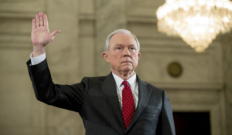 Attorney General-designate, Sen. Jeff Sessions, R-Ala. is sworn in on Capitol Hill in Washington, Tuesday, Jan. 10, 2017, prior to testifying at his confirmation hearing before the Senate Judiciary Committee. (AP Photo/Andrew Harnik)