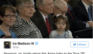 A tweet by MTV News writer Ira Madison III, since deleted, is shown here, in which he made a joke about Sen. Jeff Sessions' granddaughter, who is Asian-American. Screen capture via BusinessInsider.com.