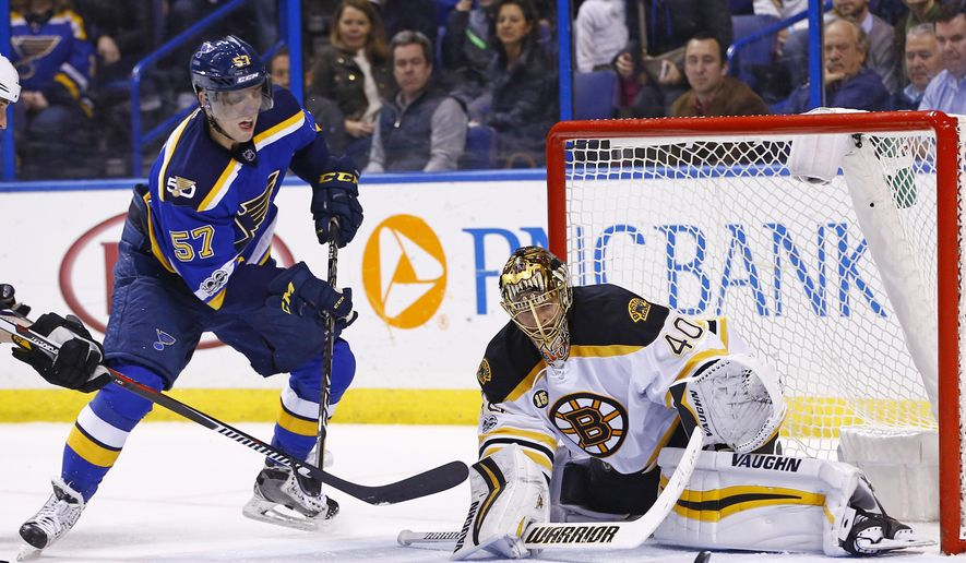 Boston Bruins goalie Tuukka Rask, of Finland, blocks a shot by St. Louis Blues' David Perron, left, during the second period of an NHL hockey game Tuesday, Jan. 10, 2017, in St. Louis. (AP Photo/Billy Hurst)