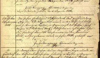 This image provided Monday, Jan. 9, 2017 by the New England Historic Genealogical Society shows a portion of a record of Roman Catholic baptisms from the Holy Trinity Church in 1836 in Boston. The society and the Archdiocese of Boston teamed up to make historic Catholic records dating to 1789 available online to people around the world looking to trace their roots. (New England Historic Genealogical Society via AP)