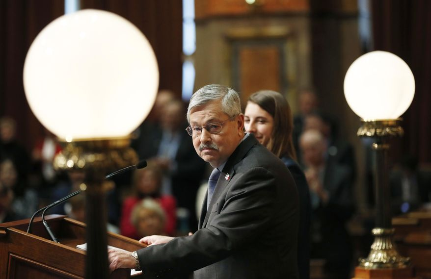 Iowa Gov. Terry Branstad delivers his annual condition of the state address before a joint session of the Iowa Legislature, Tuesday, Jan. 10, 2017, at the Statehouse in Des Moines, Iowa. (AP Photo/Charlie Neibergall)