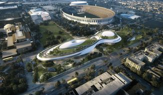 "This undated file concept design provided by the Lucas Museum of Narrative Art shows a rendering of their proposed museum, just west and north of the Coliseum in Exposition Park in Los Angeles. ""Star Wars"" creator George Lucas and his team announced Tuesday, Jan. 10, 2017, they have chosen Los Angeles over San Francisco as the home of the museum that will showcase his work. After what organizers called an extremely difficult decision, they announced Tuesday that the museum will be built in Exposition Park in Los Angeles, where it will sit alongside other more traditional museums. (Lucas Museum of Narrative Art via AP, File)"