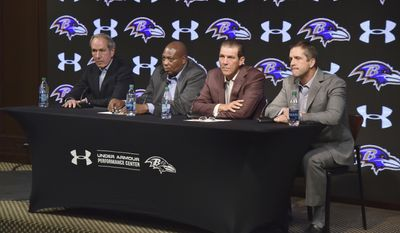 Baltimore Ravens, from left, team president Dick Cass, general manager Ozzie Newsome, owner Steve Bisciotti and head coach John Harbaugh listen during an NFL football news conference, Tuesday, Jan. 10, 2017, in Owings Mills, Md. (Kevin Richardson/The Baltimore Sun via AP)