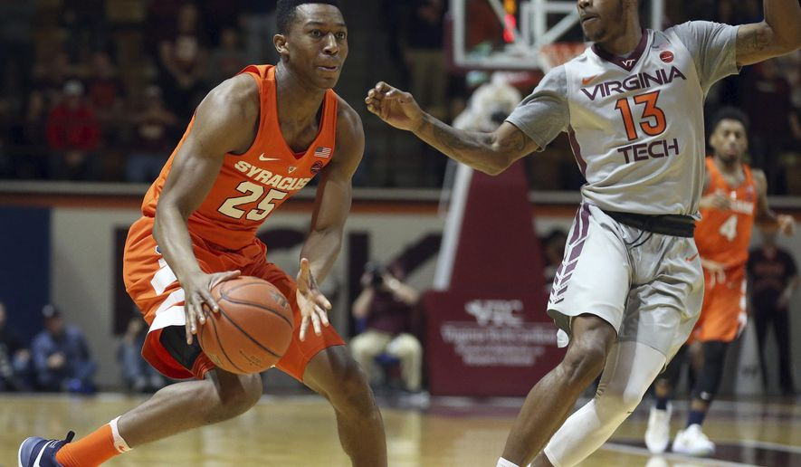 Syracuse's Tyrus Battle looks to pass past Virginia Tech defender Ahmed Hill (13) during the first half of an NCAA college basketball game in Blacksburg, Va., Tuesday, Jan. 10, 2017. (Matt Gentry/The Roanoke Times via AP)