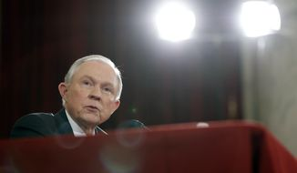 Attorney General-designate, Sen. Jeff Sessions, R-Ala. testifies on Capitol Hill in Washington, Tuesday, Jan. 10, 2017, at his confirmation hearing before the Senate Judiciary Committee. (AP Photo/Alex Brandon)