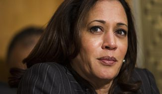 Sen. Kamala Harris, D-Calif., listens as Retired Marine Gen. John F. Kelly testifies during the Senate Homeland Security Committee hearing on his confirmation to be Secretary of Homeland Security on Capitol Hill in Washington, Tuesday, Jan. 10, 2017. (AP Photo/Cliff Owen) ** FILE**