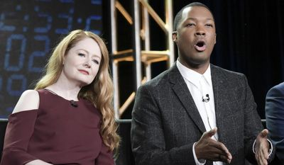 "Miranda Otto, left, and Corey Hawkins appear at the ""24 Legacy"" panel at the FOX portion of the 2017 Winter Television Critics Association press tour on Wednesday, Jan. 11, 2017, in Pasadena, Calif. (Photo by Richard Shotwell/Invision/AP)"