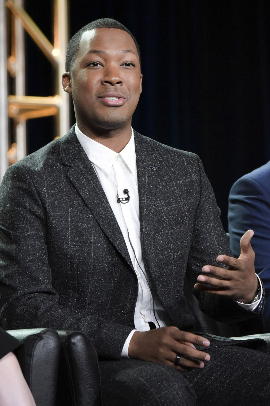 """Corey Hawkins speaks at the """"24 Legacy"""" panel at the FOX portion of the 2017 Winter Television Critics Association press tour on Wednesday, Jan. 11, 2017, in Pasadena, Calif. (Photo by Richard Shotwell/Invision/AP)"""