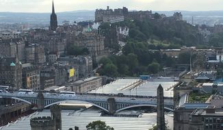 A view of Edinburgh, including Edinburgh Castle, from Calton Hill.  (Eric Althoff/The Washington Times)