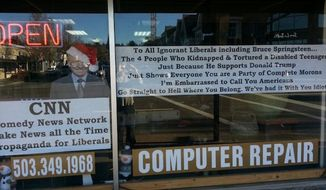 "Kevin Kerwin, owner of Kevin the Geek Computer Repair Shop in Lake Oswego, Oregon, has posted a sign in his storefront window telling liberals to ""go straight to hell"" in response to the hate crime kidnapping and torture of a white disabled man last week in Chicago. (Fox News)"