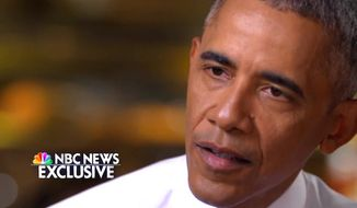 """President Obama told NBC News on Tuesday, Jan. 11, 2017, that it was """"not clear"""" that President-elect Donald Trump ever believed he would win the 2016 U.S. Presidential Election. (NBC News screenshot)"""