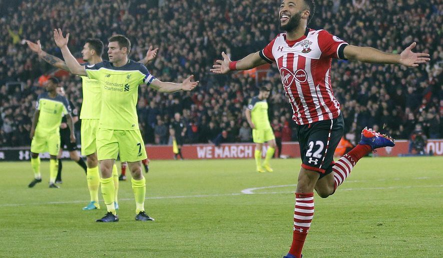 Southampton's Nathan Redmond celebrates after scoring during the English League Cup semifinal first leg soccer match between Southampton and Liverpool at St. Mary's stadium in Southampton, England, Wednesday, Jan. 11, 2017.(AP Photo/Frank Augstein)