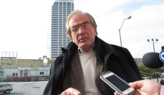 """Developer Glenn Straub speaks to reporters after a hearing at the New Jersey Casino Control Commission in Atlantic City N.J. on Wednesday Jan. 11, 2017. Straub says he does not need a casino license to reopen the former Revel casino, but some state regulators insist that he does. Straub says such """"red tape"""" is discouraging people from investing in Atlantic City. (AP Photo/Wayne Parry)"""