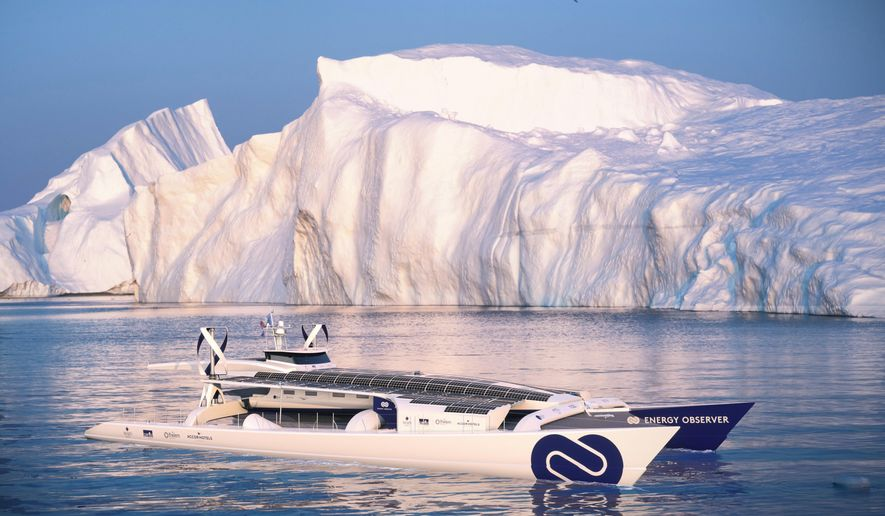 This computer image provided by Energy Observer, shows the Energy Observer boat, which is powered solely by renewable energies and hydrogen. The first self-sufficient boat only powered by emission-free energy will start a six-year trip around the world next spring. (Energy Observer via AP)