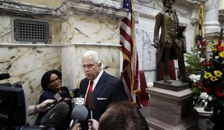 Maryland Senate President Thomas V. Mike Miller, second from left, speaks with reporters in the Senate chamber in Annapolis, Md., Wednesday, Jan. 11, 2017, the first day of the 2017 legislative session. (AP Photo/Patrick Semansky)