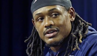 New England Patriots linebacker Dont'a Hightower speaks to media after their NFL football practice, Wednesday, Jan. 11, 2017, in Foxborough, Mass. (AP Photo/Elise Amendola)