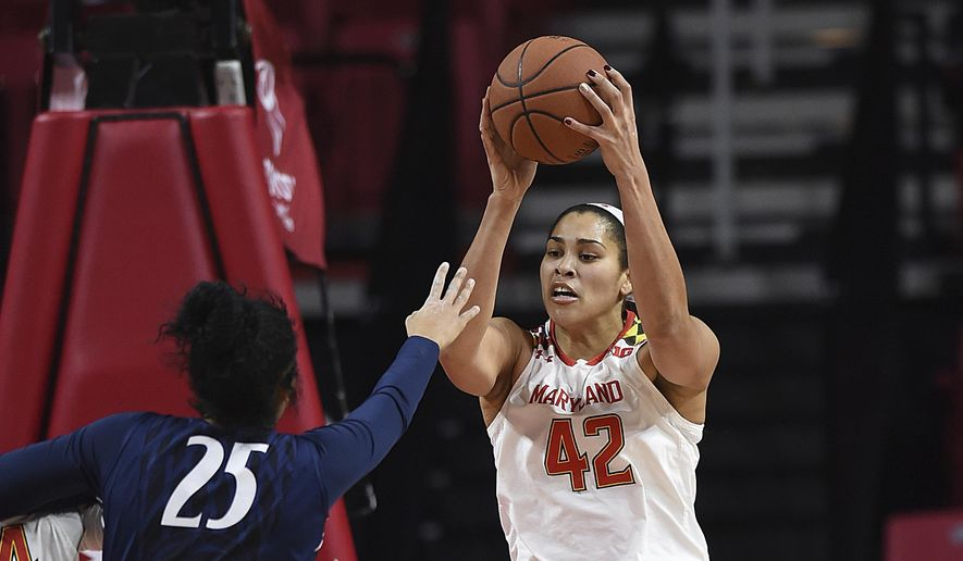 Maryland's Brionna Jones, right, grabs a rebound as Penn State's Peyton Whitted reaches for the ball during the first half of an NCAA college basketball game, Wednesday, Jan. 11, 2017 in College Park, Md. (AP Photo/Gail Burton)