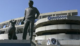 The statue of Jack Murphy and his dog, Abe of Spoon River, stand outside Qualcomm Stadium, site of Jack Murphy Field, prior to the NFL preseason football game between the San Diego Chargers and Seattle Seahawks Saturday, Aug. 15, 2009, in San Diego. (AP Photo/Denis Poroy) **FILE**
