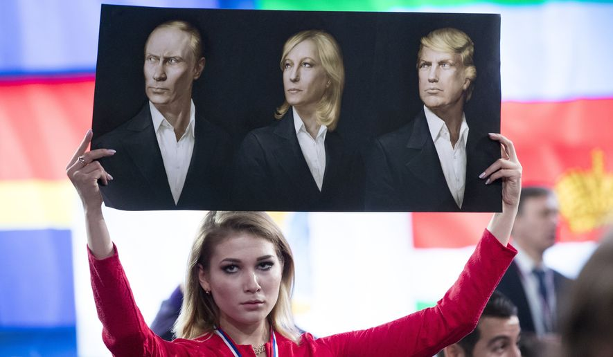Donald Trump has been compared to Russian President Vladimir Putin and French nationalist Marine Le Pen. (Associated Press/File)