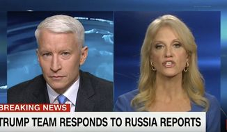 This screen image from CNN shows anchor Anderson Cooper, left, and Trump adviser Kellyanne Conway during their 25-minute televised confrontation on CNN Thursday, Jan. 11, 2017, after the network reported on Tuesday that national intelligence officials had informed the president-elect that the Russians had collected a dossier on his behavior. (CNN via AP)