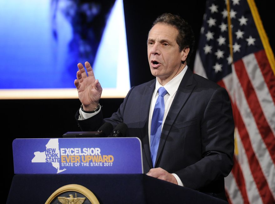 New York Gov. Andrew Cuomo delivers one of his State of the State addresses at SUNY Albany in Albany, N.Y., Wednesday, Jan. 11, 2017. (AP Photo/Hans Pennink)