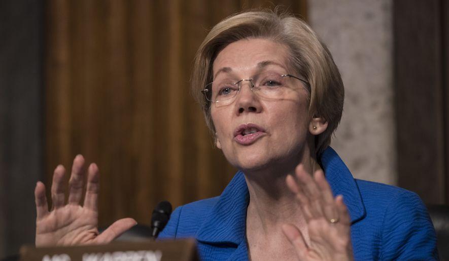 Sen. Elizabeth Warren, Massachusetts Democrat and a fierce critic of Donald Trump, has been interrogating some of his Cabinet nominees on Capitol Hill. (Associated Press)