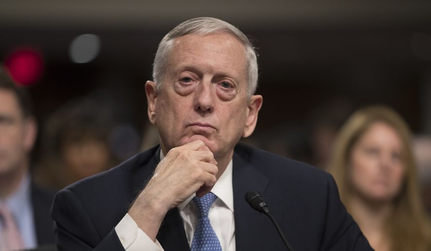 Defense Secretary-designate James Mattis listens to questions from Sen. Kirsten Gillibrand, D-N.Y., about his views on women and gays serving in the military, at his confirmation hearing before the Senate Armed Services Committee on Capitol Hill in Washington, Thursday, Jan. 12, 2017. (AP Photo/J. Scott Applewhite)