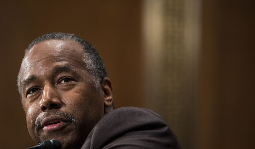 Housing and Urban Development Secretary-designate Ben Carson testifies on Capitol Hill in Washington, Thursday, Jan. 12, 2017, at his confirmation hearing before the Senate Banking, Housing, and Urban Affairs Committee. (AP Photo/Zach Gibson)