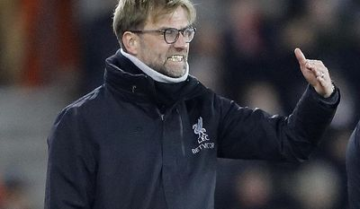 Liverpool's head coach Juergen Klopp complains during the English League Cup semifinal first leg soccer match between Southampton and Liverpool at St. Mary's stadium in Southampton, England, Wednesday, Jan. 11, 2017.(AP Photo/Frank Augstein)