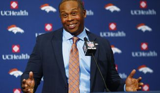 Vance Joseph responds to questions after he was introduced as the new head coach of the Denver Broncos NFL football team during a news conference at the team's headquarters Thursday, Jan. 12, 2017, in Englewood, Colo. (AP Photo/David Zalubowski)