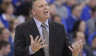 FILE - In this Wednesday, Jan. 11, 2017 photo, Creighton coach Greg McDermott gestures during the first half of an NCAA college basketball game against Butler in Omaha, Neb. This is the time of year when the competition toughens. So what in the world is No. 8 Creighton doing by playing Truman State on Saturday? Well, Creighton needed to fill a schedule opening and the Division II school from Missouri wanted a $35,000 guarantee and a moment on the big stage (AP Photo/Nati Harnik, File)