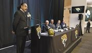 Jacksonville Jaguars NFL football team owner Shad Khan speaks during a press conference at EverBank Stadium in Jacksonville, Fla., Thursday, Jan. 12, 2017.  The Jaguars formally introduced Tom Coughlin, seated left, hired to oversee football operations, and Doug Marrone, seated second from left, as the teams new head coach.  (Bob Self/The Florida Times-Union via AP)