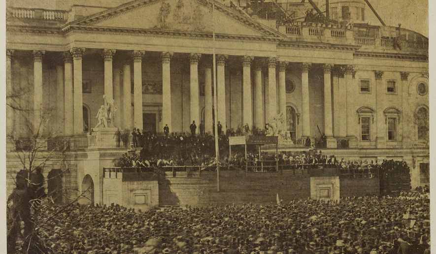 This March 4, 1861 photo of the first inauguration of President Abraham Lincoln taking the oath of office is set to be unveiled by Bowdoin College on Thursday, Jan. 12, 2017, in Brunswick, Maine. The photograph is believed to have been taken by Scottish-American photographer Alexander Gardner and is one of only three known copies. The others are in the Library of Congress and the Smithsonian Institution. (Bowdoin College Museum of Art via AP)