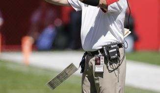 FILE -  In this Sept. 10, 2016, photo, Nebraska defensive coordinator Mark Banker signals to his players during the second half of an NCAA college football game against Wyoming, in Lincoln, Neb. Nebraska head coach Mike Riley has fired defensive coordinator Mark Banker, whose unit underperformed in some of the Cornhuskers' most important games, Wednesday, Jan. 11, 2017. (AP Photo/Nati Harnik, File)