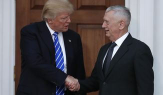 FILE - In this Nov. 19, 2016, file photo, President-elect Donald Trump shakes hands with retired Marine Gen. James Mattis as he leaves Trump National Golf Club Bedminster clubhouse in Bedminster, N.J. Mattis is an outspoken critic of Iran, calling it the biggest threat to stability in the Mideast. (AP Photo/Carolyn Kaster, File)