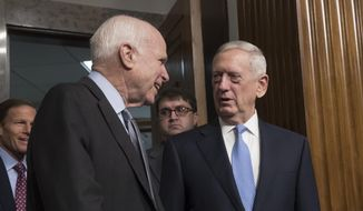 Senate Armed Services Committee Chairman Sen. John McCain, R-Ariz., left, welcomes Defense Secretary-designate James Mattis on Capitol Hill in Washington, Thursday, Jan. 12, 2017, prior to the start of Mattis confirmation hearing before the committee.  (AP Photo/J. Scott Applewhite) ** FILE **