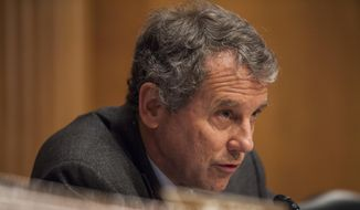 Sen. Sherrod Brown, D-Ohio, ranking member on the Senate Banking, Housing, and Urban Affairs Committee, speaks on Capitol Hill in Washington, Thursday, Jan. 12, 2017, during the committee's confirmation hearing for Housing and Urban Development Secretary-designate Ben Carson.  (AP Photo/Zach Gibson) ** FILE**