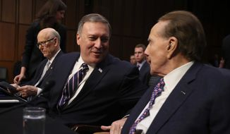 "CIA Director-designate Rep. Michael Pompeo, Kansas Republican, told the Senate Select Committee on Intelligence that he would not authorize the CIA to reinstate use of now-illegal ""enhanced interrogation"" techniques, which critics denounce as torture. (Associated Press)"