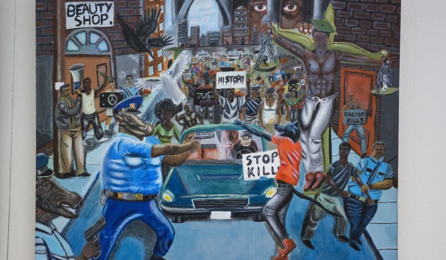 In this Jan. 5, 2017, photo, a painting by David Pulphus hangs in a hallway displaying paintings by high school students selected by their member of congress on Capitol Hill in Washington. A GOP congressman reported Jan. 13 that a painting stirring controversy on Capitol Hill will be taken down on Tuesday as a result of a review by the agency responsible for maintaining the Capitol complex determined it violated rules for a student arts competition. The painting depicts Ferguson, Missouri, with the image of a pig in a police uniform aiming a gun at a protester. The painting was among hundreds completed by high school students that are featured in a tunnel leading to the Capitol. (AP Photo/Zach Gibson)