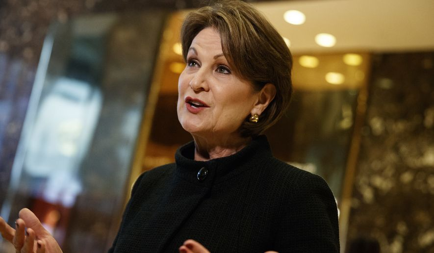 Lockheed Martin CEO Marillyn Hewson talks to reporters in the lobby of Trump Tower in New York, Friday, Jan. 13, 2017, after a meeting with President-elect Donald Trump. (AP Photo/Evan Vucci)