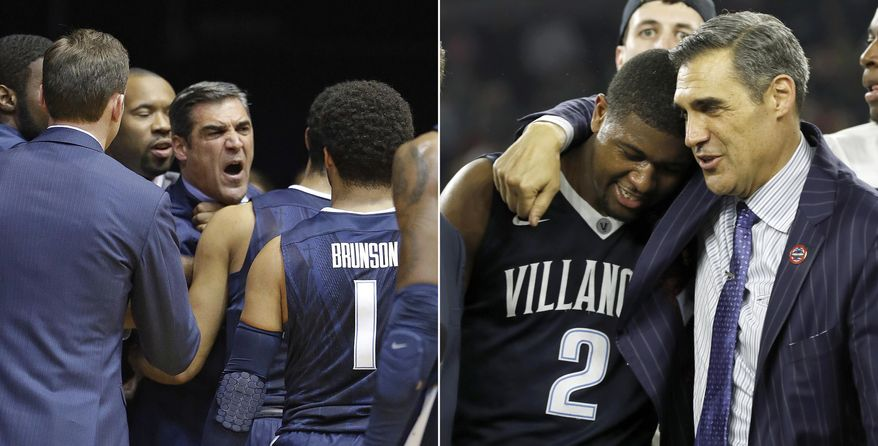 FILE - At left, in a Jan. 4, 2017, file photo, Villanova head coach Jay Wright is restrained by players after receiving a technical foul in the first half of an NCAA college basketball game against the Butler in Indianapolis. At right, in an April 4, 2016, file photo, Villanova head coach Jay Wright embraces Kris Jenkins after Jenkins scored a game winning three point basket in the closing seconds of the NCAA Final Four tournament college basketball championship game against North Carolina, in Houston. Jay Wright is known for containing himself during games, yet last week he needed to be restrained by his assistants. (AP Photo/File)