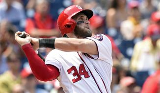 FILE - In this May 6, 2015, file photo, Washington Nationals right fielder Bryce Harper watches the ball after hitting a second home run against the Miami Marlins during the third inning of their baseball game at Nationals Park in Washington. Harper, Chicago Cubs pitcher Jake Arrieta, New York Mets pitchers Matt Harvey and Jacob deGrom, and Baltimore third baseman Manny Machado were among 146 players eligible to exchange salary arbitration figures with their teams, though most were expected to reach agreements. (AP Photo/Susan Walsh, File)