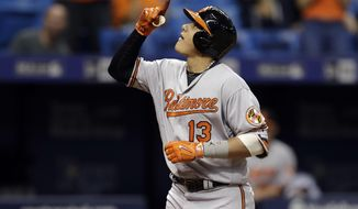 FILE - In this Sept. 6, 2016, file photo, Baltimore Orioles' Manny Machado celebrates after his grand slam off Tampa Bay Rays starting pitcher Jake Odorizzi during the fourth inning of a baseball game, in St. Petersburg, Fla. Washington outfielder Bryce Harper, Chicago Cubs pitcher Jake Arrieta, New York Mets pitchers Matt Harvey and Jacob deGrom, and Baltimore third baseman Manny Machado were among 146 players eligible to exchange salary arbitration figures with their teams, though most were expected to reach agreements.(AP Photo/Chris O'Meara, File)