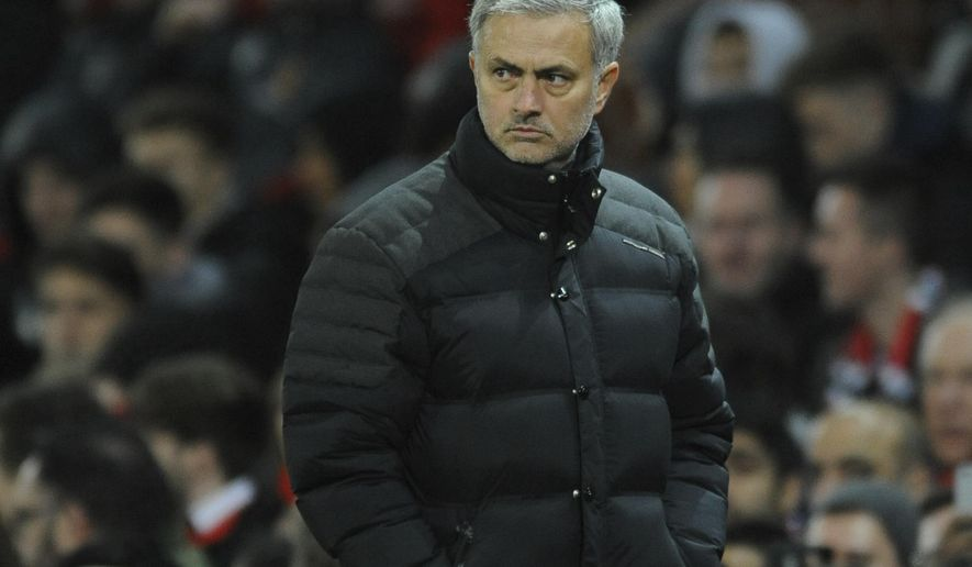 Manchester United's manager Jose Mourinho walks from the pitch at half time during the English League Cup semifinal, 1st leg, soccer match between Manchester United and Hull at Old Trafford stadium in Manchester, England, Tuesday, Jan. 10, 2017. (AP Photo/Rui Vieira)