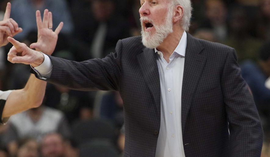 San Antonio Spurs coach Gregg Popovich yells to his players during the second half of an NBA basketball game against the Milwaukee Bucks, Tuesday, Jan. 10, 2017, in San Antonio. Milwaukee won 109-107. (AP Photo/Darren Abate)