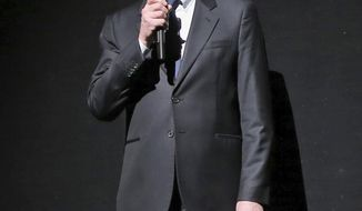 """FILE - In this Jan. 25 2013 file photo, Peter Gelb, the general manager of the Metropolitan Opera speaks to the audience at the start of the final dress rehearsal of Giuseppe Verdi's Rigoletto at the Metropolitan Opera in New York. The Metropolitan Opera canceled next year's production of Verdi's """"La Forza del Destino,"""" Gelb said the decision was made several months ago and will save about $1 million. He wanted to make the announcement ahead of the release of next season's schedule next month, (AP Photo/Mary Altaffer, File)"""