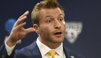 Los Angeles Rams new NFL football head coach Sean McVay speaks during a press conference at the Rams' training facility in Thousand Oaks, Calif., Friday, Jan. 13, 2017. (AP Photo/Michael Owen Baker)